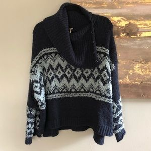 Free People Button Turtleneck Sweater